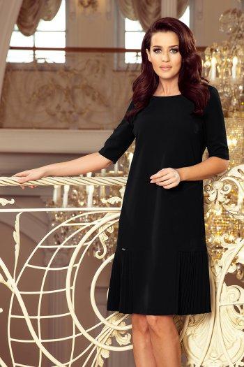 08f9091bb1 253-1 LIDIA Sukienka z plisami po bokach - CZARNA