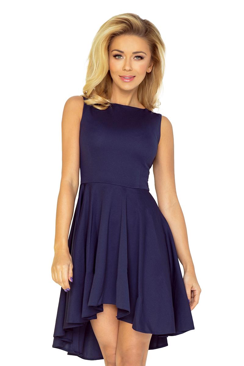 9245c6fa 33-3 Ekskluzywna sukienka z dłuższym tyłem - GRANATOWA :: numoco