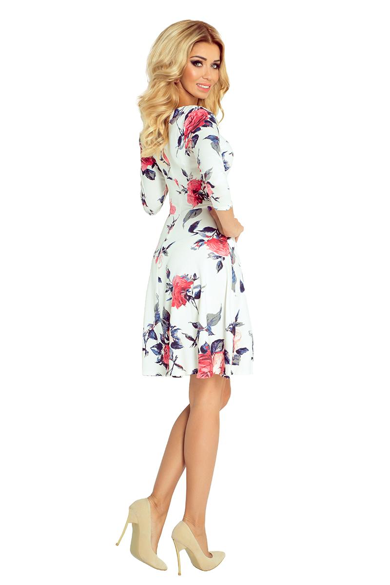 af6536f6a0 49-13 Rozkloszowana sukienka z rękawkiem 3 4 duże kwiaty    numoco