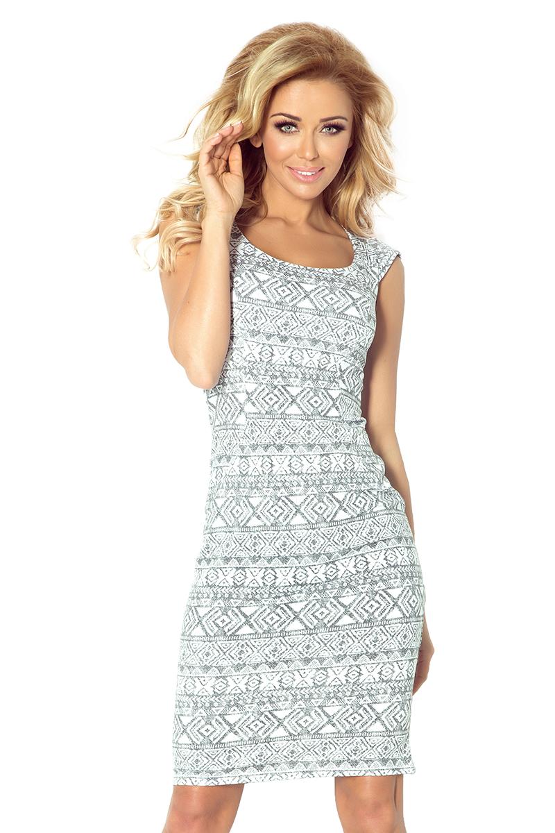 fe3fff2f16 53-15 Dopasowana sukienka - ecru + etniczne szare wzory    numoco