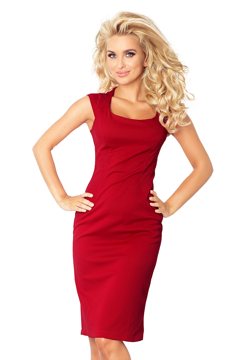 12290f4e3c 53-25A Nowa dopasowana sukienka - bordowa lacosta    numoco