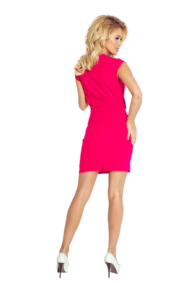 5027e22be5 94-9 Sukienka z zakładanym dekoltem - malina    numoco