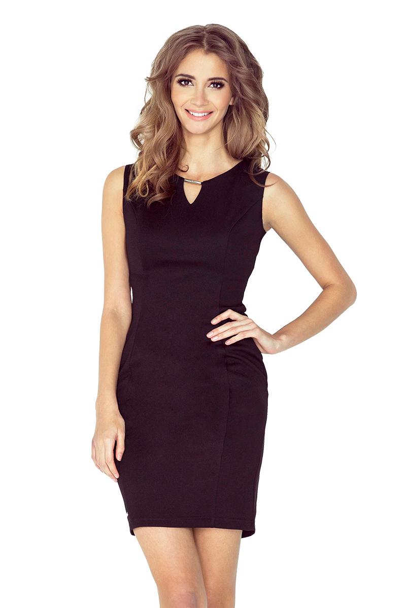 56fcd98dda MM 005-3 Elegancka sukienka z klamerką - CZARNA    numoco