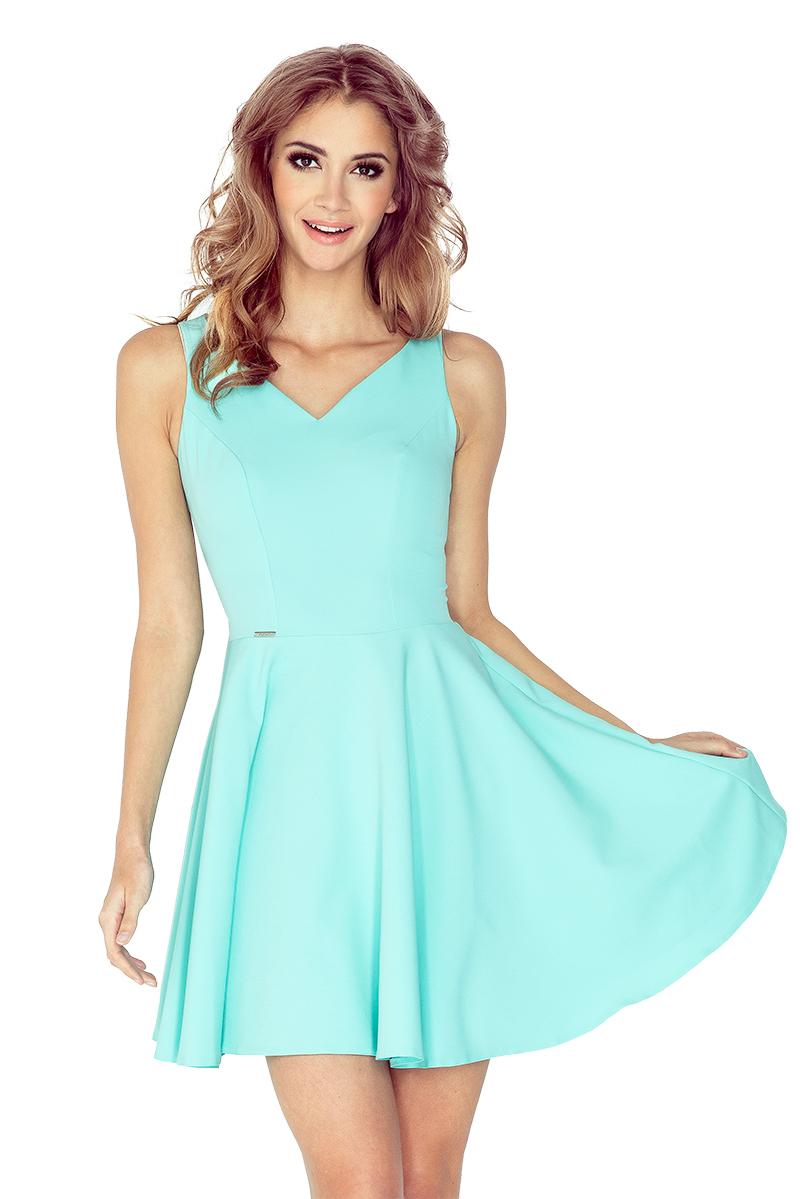 92bffd106d MM 014-4 Sukienka z koła - dekolt serduszko - MIĘTOWA    numoco